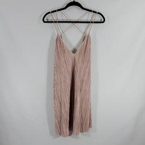 Cream pleated mini dress